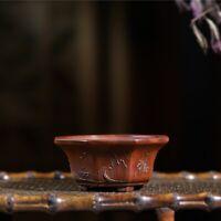 Chinese Yixing Zisha Pottery Red Clay Handmade Flowerpot Bonsai Succulent Pot