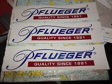 3 PFLUEGER BUMPER STICKERS FISHING ROD & REEL MAKER STICKERS FOR CAR OR BOAT