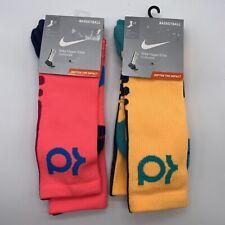 Mens Nike Hyper Elite Cushioned Basketball Socks Kevin Durant Pink Yellow Large