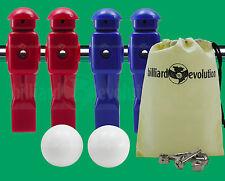 "2 Red/2 Blue Dynamo Foosball Men for 5/8"" Rod + 2 White Foosballs + Screws/Nuts"