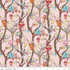 FLANNEL by 1/2 Yard - Riley Blake Fabric ~ Tree Party Main Owls in Pink