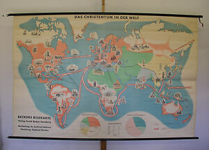 Schulwandkarte Beautiful Old Map Christianity Religion 237x157 Vintage~1959