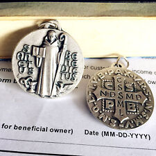 """Holy Lager 1.3"""" Silver Catholic St.Benedict medal Rosary PENDANT From Italy"""