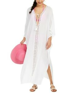 Raviya Crochet-Trimmed Cover-Up Maxi Dress White Large Style #75823