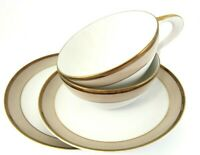 Sango Trousseau Fine China CUP and SAUCER Set of 2 Copper Tan Bands White Center