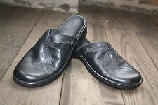 Clarks~Leather Mules~Black~Size 7~Medium Width~Clogs~Shoes