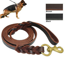 Top Genuine Braided Leather Dog Leash Training Leads Durable for German Shepherd