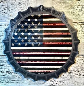"""US FLAG""  12"" METAL BOTTLE CAP SIGN- Baked Ink -Patio-Bar-Outdoor/Indoor   U31"