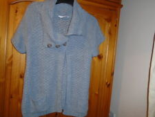 Grey blue chunky knit short sleeve cardigan, GRABAL ALOK (EDITIONS), size Small