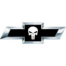 2 White Skull US Universal Chevy Silverado Vinyl Sheets Emblem Overlay