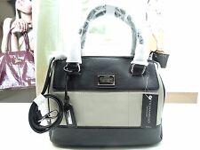 NWT Tignanello Satchel Social Status Bag Dove Grey/Black Leather T69905A
