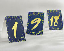 1-18 Tent Style Navy and Gold Foil Wedding Table Numbers