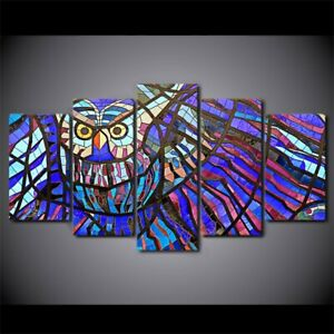 Owl Bird Stained Glass Pattern 5 pcs HD Art Poster Wall Home Decor Canvas Print