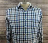 Peter Millar Mens Check Blue Button Front Casual Shirt Size Large