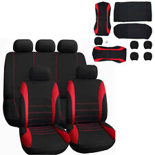 9 Part Car Seat Covers Protector Set For Front & Rear Seats Headrests Black&Red