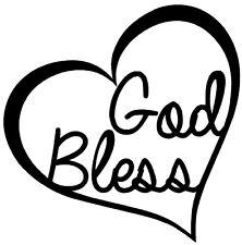 GOD BLESS HEART Vinyl Decal Sticker Car Window Wall Bumper Love Jesus Bible