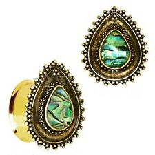 PAIR-Teardrop Abalone Gold Plate Double Flare Ear Plugs 10mm/00 Gauge Body Jewe
