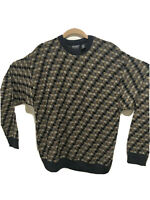 Vintage Biggie Smalls Style Blue/Gold Knitted Sweater 90s Cosby Coogi-Style Crew