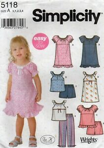 Simplicity Sewing Pattern 5118 EASY Dress, Trousers & Shorts, Size 1/2 - 4 New