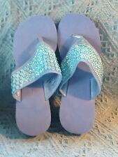 NOS AVON WEDGE SANDAL BLUE CORK LIKE MATERIAL WITH BLUE SEQUINS SIZE MM (7-8)