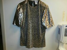 Lauren Lee stretch top pullover short sleeve womens Large SHINY METALLIC SOFT