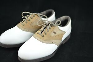 Womens FOOTJOY SoftJoys Terrains White w/ Tan Saddle Size 7 1/2 (7.5) M 98308