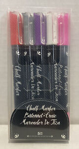 American Crafts Chalk Markers 5 Markers Purple, Pink, Silver, White, Red Markers