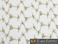 "Mesh Spider Lace Floral Beads Fabric GOLD / 52"" Wide / Sold by the yard"