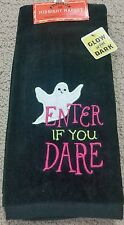 """Halloween """"Enter If You Dare"""" Glow in the Dark Ghost Hand Towel Black Velour NWT"""