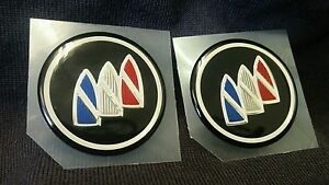 SET OF 2-- NOS GENUINE GM BUICK EMBLEMS BLACK / CHROME WITH BUICK TRI-SHIELD