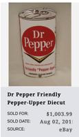 "VINTAGE DR PEPPER CHEVRON DIE-CUT SODA CAN 8.5"" PORCELAIN METAL POP GAS OIL SIGN"