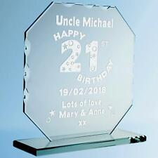 Sons Engraved 21st Birthday Cut Glass Frame Personalised Birthday Plaque Present