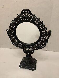 Vintage Victorian Art Nouveau Ornate Vanity Mirror Embossed Japan #7509