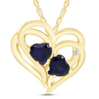"""Blue Sapphire & Diamond Heart Pendant Necklace 14K Yellow Gold Over Sterling 18"""""""