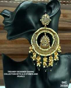 NEW BOLLYWOOD TRENDY DESIGNER EARING WITH CZ STONES AND PEARLS