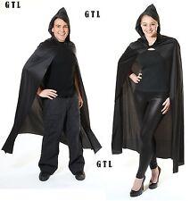 Black Deluxe Vampire Cloak Long Cape With Hooded  Halloween Unisex Fancy Dress