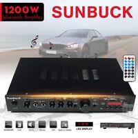 Sunbuck 1200W HiFi Stereo Amplifier bluetooth 5CH Remote Control USB Mic Input