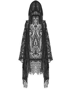 Punk Rave Womens Gothic Lace Hooded Waistcoat Cloak Cape Shrug Shawl Black Witch