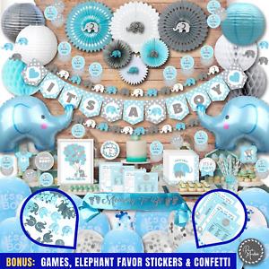 377 Piece - Baby Shower Decorations for Boy by RainMeadow, Elephant Theme