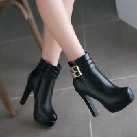 Fashion Womens Round Toe Buckle Platform Block High Heels Dress Shoes Plus Size