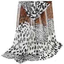 destockage foulard écharpe neuf mousseline de soie léopard noir blanc marron