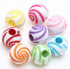 New 25Pcs Floral Acrylic Loose Spacer Charms Round Beads Jewelry Making 8mm