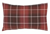 TARTAN CHECK RED 100% BRUSHED COTTON REVERSIBLE PAIR OF HOUSEWIFE PILLOWCASES