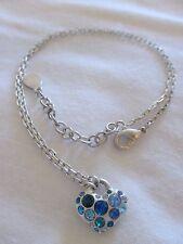 "GUESS Blue & Green Rhinestone Heart Pendant Silver Tone Chain 15""-17"" Necklace"