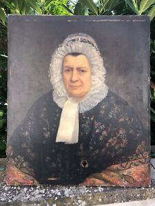 huile sur toile portrait ancien grand portrait à restaurer