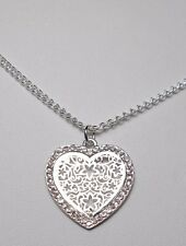 """Sparkly 25mm silver heart pendant w/crystals, 16"""" chain"""
