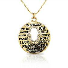 Yellow Gold-Tone Round Hamsa Evil Eye White Crystals CZ Pendant Necklace