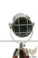 NAUTICAL COLLECTIBLE  CHROME TRIPOD FLOOR LAMP VINTAGE INDUSTRIAL SPOT LIGHT