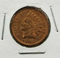 1903 Indian Head Cent Penny Nice coin Coin XF / AU Extra Fine Quest Color