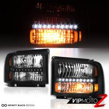 "05-07 Ford F250 F350 F450 SuperDuty ""LED DRL STRIP"" Black Headlight Running Lamp"